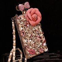 3D Handmade Perfume Bottle Handmade DIY Bling Crystal Diamond Handbag Case Cover