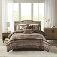 NEW! ~ COZY MODERN CHIC BROWN RED WHITE GREY LODGE LOG CABIN SOFT COMFORTER SET