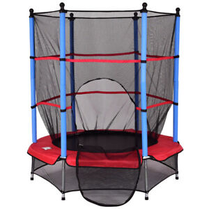 Kids Trampoline With Enclosure Mini Jumping Exercise w Safety Pad 4.5ft Indoor