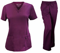 Soulful Scrubs Women's 2336 V-Neck Top/9178 Full Elastic/Cargo Scrub Pant Set
