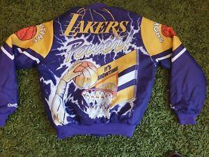 VINTAGE 80`S 90`S LOS ANGELES LAKERS CHALK LINE Men`s Purple Jacket Size M