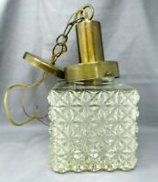 Vintage Ceiling Light Fixture Hanging Lamp Square Glass Cover wired not plug