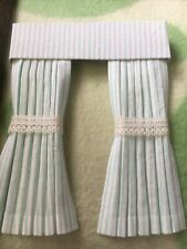 Pretty 1/12 Scale Dolls House Curtains - Mint Green Stripe