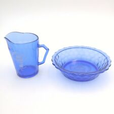 Vintage Cobalt Blue Shirley Temple Etched Bowl and Glass Pitcher