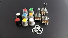 B500K Potentiometer Pot + nuts and washers + knobs(x3) Choice of coloured knobs