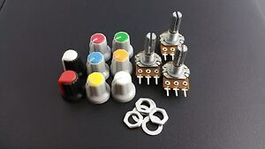B500K Potentiometer Pot + nuts and washers + coloured knobs(x3)
