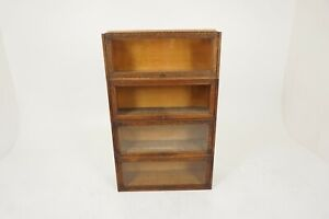 Antique 4 Section Tiger Oak Lawyer Bookcase No Top Or Base, America 1920, B2548C