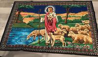 Vintage Tapestry Rug, Jesus Tending Sheep, Vivid Colors, By DTC, Made In Turkey