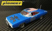 """Pioneer """"The General Grant"""" Blue 1969 Dodge Charger DPR 1/32 Scale Slot Car P094"""