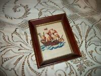 VINTAGE CHIC NEEDLEPOINT SHIP PICTURE MAHOGANY FRAME SMALL SHABBY BEACH COTTAGE