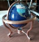 """VINTAGE Lapis Blue Gemstone World Globe 13"""" With Claw Feet and Compass."""