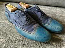 PAUL SMITH LONDON Miller Blue OXFORD BROGUE Sz 8 USA / 7 UK Derby Dress Shoe