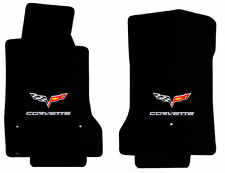 2005-2007.5 C6 Ebony Black Front Floor Mats Set -  Flags & Silver CORVETTE Logos