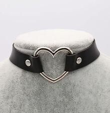 Women Punk Goth Handmade Chain Black PU Leather Heart Collar Choker Necklace UK
