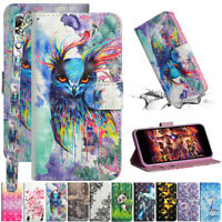 For Huawei Y5 Y6 Y7 2019 Painted Leather Flip Stand Card Wallet TPU Case Cover