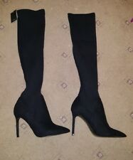 BNWT ZARA SOCK STYLE ELASTIC BLACK OVER THE KNEE SHOES HEELS BOOTS SIZE 7