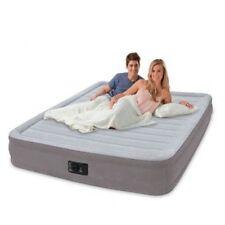 Intex Queen Flocked Deluxe Inflatable Airbed in Grey 33cm bed