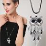 Designer Damen 75cm Halskette Schmuck Collier Eule Anhänger edel lang Kette M32