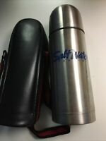 Vintage 1980 SALT WATER SPORTSMAN St Steel Thermos 12 Oz w/ logo & Leather Case