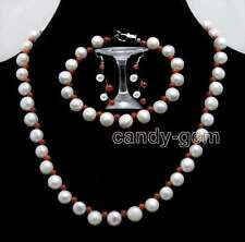 SALE 7-8mm Flat Round White side drilled pearl & Red Coral Necklace set-nec6401