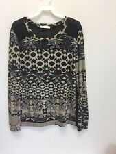 Banana Lemon Black and Beige Top Blouse Long Sleeves Sheer Back Size L NWOT. HH2
