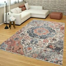 Oriental Traditional Rug Living Room Kitchen Bedroom Rugs Floral Pink Blue Mats