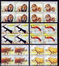 India Arica Summit MNH 6v in Blk 4, Wild Animals, Rhino, Lion, Black Buck, Deer