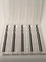 "1/8"" Dia x 1/2"" Cut AlumaCut 2 Flute Carbide End Mill for Aluminum 5-Pack USA F4"