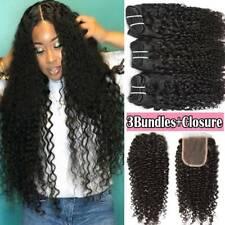 8A Kinky Curly Wave 3Bundles+Lace Closure Brazilian Virgin Human Hair Weave Weft
