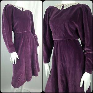 Vintage Handmade Velvet Dress Lace Collar Prairie Victorian Edwardian Size 14