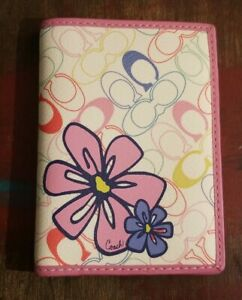 Coach Passport Holder Great Condition Pink Purple Flower Multicolored