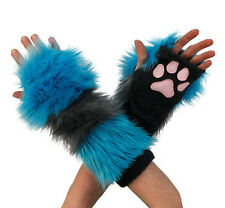PAWSTAR Cheshire CAT Paw Warmers - Arm Fingerless Gloves Gray Teal [ALT]3150