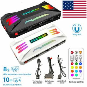 PWM RGB Controller 4Pin PWM 5V 3Pin ARGB Fan Cooler PC Case Remote Control