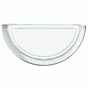 Polished Chrome Wall Light Half Moon Wall Light with Frosted Glass