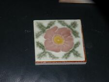 ANTIQUE POTTERY ENGLISH FLORAL TILE PINK GREEN YELLOW