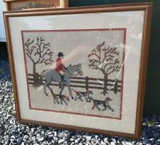 Vintage Horse w/ Rider and Dogs Embroidered Art Picture Gorgeous