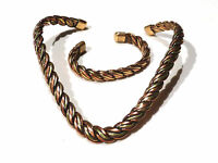 Bijou cuivre et laiton collier et  bracelet maille tressée necklace idéal cadeau