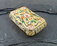 Vintage Solid Silver & Gem Set Gilt Enamel Box - Pearls & Coral