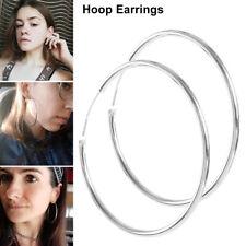 925 Sterling Silver Hoop Earrings Large Hooped Sleeper 50mm 5cm Ladies Women