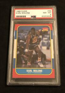 PSA 8 1986 Fleer Basketball #68 Karl Malone Utah Jazz ROOKIE HOF SET BREAK!