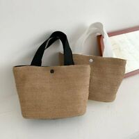 Ladies Straw Handbags Summer Beach Rattan Bag Wicker Woven Large Tote Bucket Bag