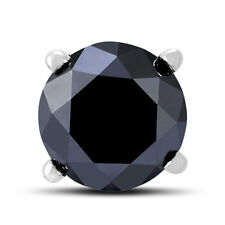 1/2 Carat Round Single Solitaire Black Diamond Stud Earring in 10K White Gold