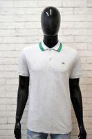 Polo Grigia Maglia Uomo LACOSTE Taglia 5 Slim ( L ) Manica Corta Shirt Men