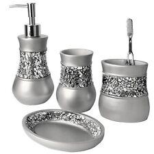 SILVER-GLITTER-BATH-ENSEMBLE-SET-METALLIC-BATHROOM-ACCESSORIES-SINK-SOAP-DISH