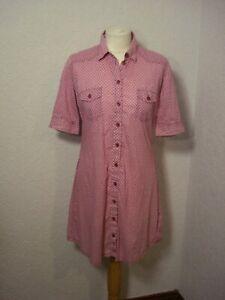 Ben Sherman raspberry pink & white print cotton shirt dress S 10-12
