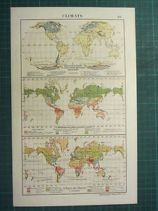 1921 MAP ~ CLIMATES ~ THE WORLD GLACIAL EXTENSIONS DISTRIBUTION OF RAINFALL