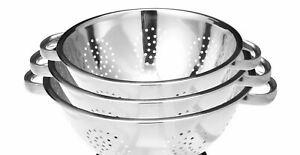 New Stainless Steel Strainer Colander Basket Deep Kitchen Colander Set of 3