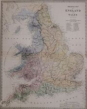 1884 LETTS Mappa ENGLAND & WALES fisico Derwent ACQUA Windermere Dartmoor Forest