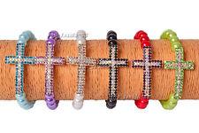 FREE 5ps Glass Pearl Sideways Cross Crystal Rhinestone Silver T Elastic Bracelet