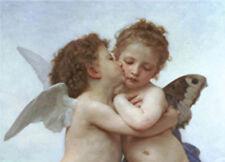 BOUGUEREAU L'AMOUR ET PYSCHE ENFANTS ANGELI BACIO STAMPA SU TELA CANVAS 50 X 70
